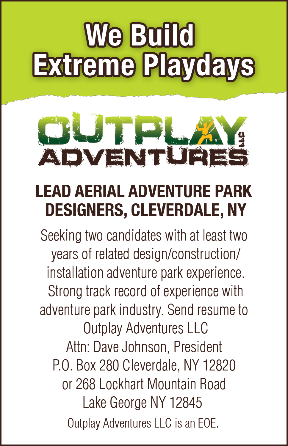 Now Hiring Lead Aerial Adventure Park Designers, Cleverdale, NY